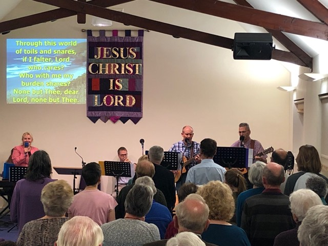 Praise and worship in Fort William Baptist Church in Scotland
